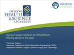 Aging-in-place Research at ORCATECH: Making Sense of the Data
