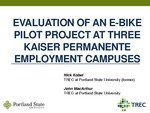 Evaluation of an Electric Bike Pilot Project at Three Employment Campuses in Portland, Oregon